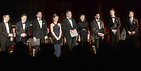 09 March 2016 - London, England - Performers (left to right) Sam Alexander, Joe Stilgoe, Edward Bennett, Miranda Raison, Hugh Bonneville, Harriet Walter, Julian Ovenden, Ian Bostridge and Joseph Fiennes stand to accept applause as the Prince of Wales hosts a gala concert marking the 10th anniversary of the Children and the Arts charity at St James's Palace, London. Photo Credit: ALPR/AdMedia