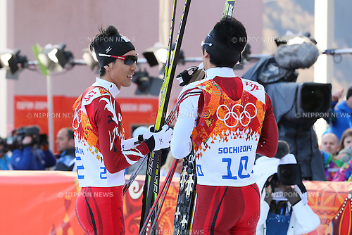 (L-R) Akito Watabe, Yoshito Watabe (JPN),<br /> FEBRUARY 12, 2014 - Nordic Combined : <br /> Individual Gundersen NH/10km <br /> at &quot;RUSSKI GORKI&quot; Jumping Center <br /> during the Sochi 2014 Olympic Winter Games in Sochi, Russia. <br /> (Photo by Yohei Osada/AFLO SPORT)