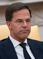 Mark Rutte, Prime Minster of The Netherlands participates in a meeting with United States President Donald J. Trump at The White House in Washington, DC, July 2, 2018. <br /> CAP/MPI/RS<br /> &copy;RS/MPI/Capital Pictures