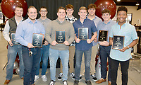 Graham Thomas/Herald-Leader<br /> Siloam Springs football players, from left, Spenser Pippin, Matt Avery, Dillon Conn, Chase Chandler, Camden Collins, Landon Ellis, Corbin Collins, Kaiden Thrailkill and Primo Agbehi were named 5A-West All-Conference for the 2018 season. The players received their plaques Sunday at the team's annual football banquet at Camp Siloam.