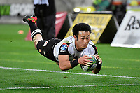 Sunwolves' Kenki FUKUOKA ( 福岡 堅樹 ) in action during the Super Rugby - Hurricanes v Sunwolves at Westpac Stadium, Wellington, New Zealand on Friday 27 April 2018.<br /> Photo by Masanori Udagawa. <br /> www.photowellington.photoshelter.com