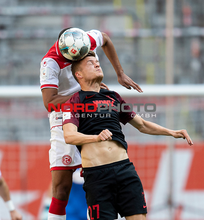 Alfred FINNBOGASON r. (A) beim Kopfball gegen Mathias JOERGENSEN (Jörgensen)(D),<br />