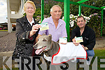 Kevin Curran pictured here centre along with Eileen & Drew O'Meara are 'Going To The Dog's' on the 28th July in The Kingdom Greyhound Stadium in an effort to raise funds for Cancer Research, also in the shot is Ellie Jay possibly Irelands oldest greyhound at 13 years old.