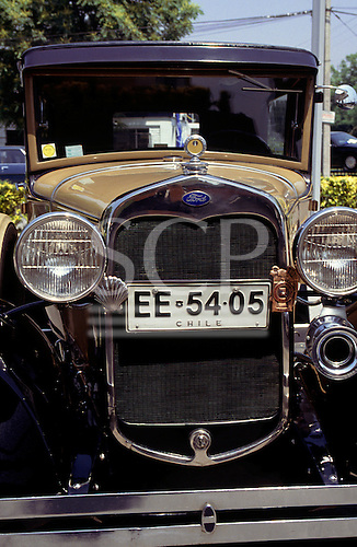 Santiago, Chile. Vintage Model A Ford car with Chile number plate.
