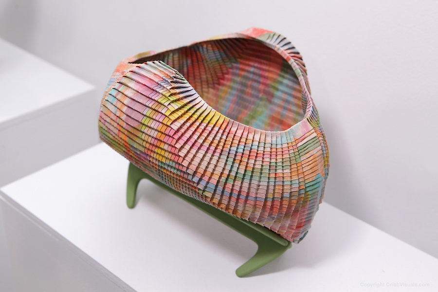 Surface to Structure origami exhibition at Cooper Union, New York. Gallery view. Rainbow Bowl designed and folded by Linda Smith 2012