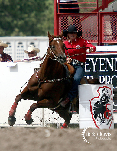 Cheyenne, Wyoming-7/26/2009-Photo by Rick Davis - WPRA cowgirl Tiffany Fox of Fox Oklahoma turned in a short go round time of 17.56 seconds in the Women's Barrel Racing event during final round action at the 113th annual Cheyenne Frontier Days Rodeo. Tiffany's three run total of 52.50 seconds earned her the 2009 Cheyenne WPRA Barrel Racing Championship.