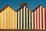 Multicoloured beach huts, San Juan beach, Alicante, Spain,Europe