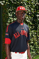 Shortstop Nick Gordon (5) of Olympia High School in Orlando, Florida poses for a photo before the Under Armour All-American Game on August 24, 2013 at Wrigley Field in Chicago, Illinois.  (Mike Janes/Four Seam Images)