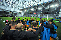 The Jaguares huddle before the Super Rugby match between the Highlanders and Jaguares at Forsyth Barr Stadium in Dunedin, New Zealand on Saturday, 11 May 2019. Photo: Dave Lintott / lintottphoto.co.nz