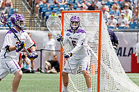 Nate Siekierski (#6) defends the goal as Yale defeats UAlbany 20-11 in the NCAAA semifinal game at Gillette Stadium, May 26.