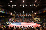 SIOUX FALLS, SD - MARCH 24: The United States flag is draped over the court during the Division II Men's Basketball Championship held at the Sanford Pentagon on March 24, 2018 in Sioux Falls, South Dakota. Ferris State University defeated Northern State University 71-69. Ferris State University defeated Northern State University 71-69. (Photo by Tim Nwachukwu/NCAA Photos via Getty Images)