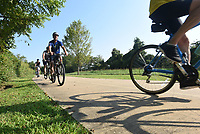 NWA Democrat-Gazette/FLIP PUTTHOFF <br /> Riders in Rogers head south on Saturday Sept. 7 2019 along the Razorback Greenway during the Square to Square bicycle ride from Bentonville to Fayetteville.