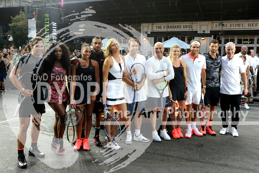 Tennis players Rafael Nadal, Serena Williams, Madison Keys, Nick Kyrgious, Maria Sharapova, Pete Sampras, Andre Agassi, Genie Bouchard, Roger Federer, Grigor Dimitrov and John McEnroe attending Nike's 'NYC Street Tennis' event on August 24, 2015 in New York City