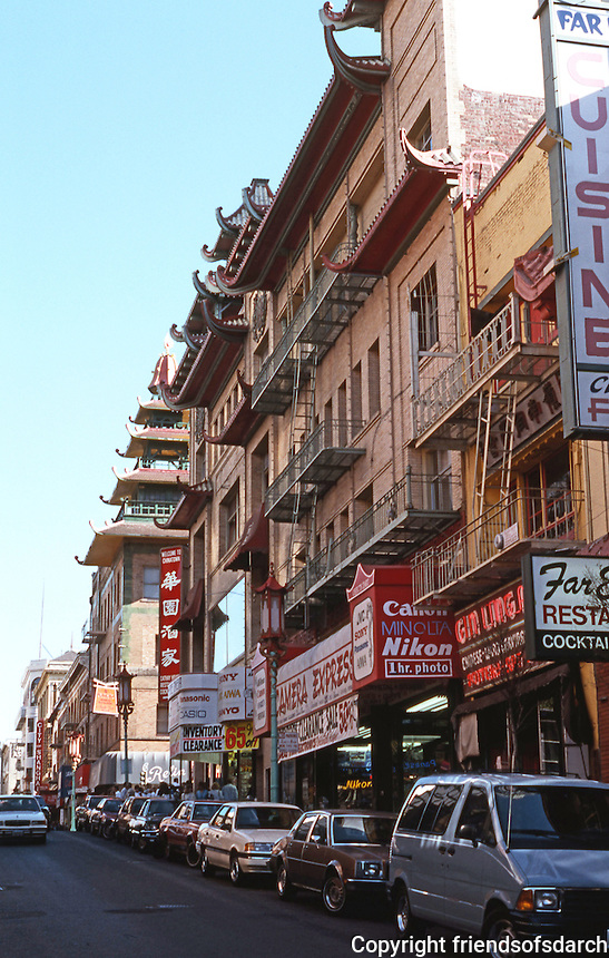 San Francisco:  Chinatown. Buildings on Grant approaching California.  Photo '89.