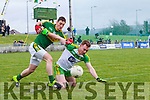 Stephen O'Brien, Kerry, in action against Eamonn Doherty, Donegal, in the national Football League, Division 1, Round 4, at Austin Stack Park, Tralee on Sunday.