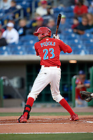 Clearwater Threshers right fielder Jose Pujols (23) at bat during a game against the Dunedin Blue Jays on April 7, 2017 at Spectrum Field in Clearwater, Florida.  Dunedin defeated Clearwater 7-4.  (Mike Janes/Four Seam Images)