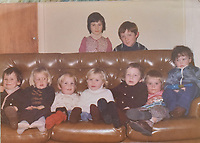"""Copy picture of Richard Best, aged 3, second from the left, during a family party.<br /> Re: The parents of Richard Best, who died in an accident that left him with a serious head injuries after tripping over his own flip flop have paid tribute to him as """"a life-long Cardiff supporter who touched the hearts of everyone"""".<br /> Around 1,000 will attend the funeral of Richard Best, who died in the accident in the early hours of July 3, 2018.<br /> """"He was so well loved by everyone."""" said his mum Pam.<br /> """"I just can't believe how many hearts he touched. I find it hard to still accept it, at times I am in denial and other times I realise what has happened.""""<br /> The family's home in Baglan, south Wales has been inundated with cards and flowers since Richard, who worked at the steelworks in Port Talbot, was found with a head injury."""
