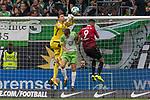 09.09.2017, Volkswagen Arena, Wolfsburg, GER, 1.FBL, VfL Wolfsburg vs Hannover 96<br /> <br /> im Bild<br /> Koen Casteels (VfL Wolfsburg #1) wehrt einen Ball mit Faust ab im Duell / im Zweikampf mit Robin Knoche (VfL Wolfsburg #31) und Jonathas (Hannover 96 #9), <br /> <br /> Foto &copy; nordphoto / Ewert