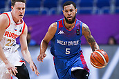 7th September 2017, Fenerbahce Arena, Istanbul, Turkey; FIBA Eurobasket Group D; Russia versus Great Britain; Guard Teddy Okereafor #5 of Great Britain in action against Guard Dmitrii Kulagin #22 of Russia during the match