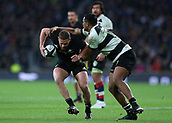 4th November 2017, Twickenham Stadium, Twickenham, England; Autumn International Rugby, Barbarians versus New Zealand; Tawera Kerr-Barlow of New Zealand being tackled by Julian Saves of Barbarians