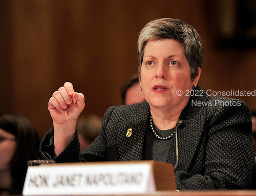 United States Secretary of Homeland Security Janet Napolitano testifies before the U.S. Senate Homeland Security and Government Affairs Committee on the  fiscal 2012 budget for the programs and activities of the Department of Homeland Security in Washington, D.C. on Thursday, February 17, 2011. .Credit: Ron Sachs / CNP