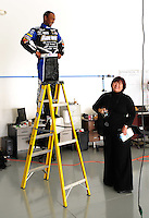 Jan. 8, 2012; Brownsburg, IN, USA; The car of NHRA top fuel dragster driver Antron Brown stands on a ladder during a photo shoot at the Don Schumacher Racing shop. Mandatory Credit: Mark J. Rebilas-