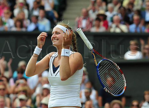 02.07.2011. Wimbledon, London. Ladies singles final match.  Petra Kvitova of Czech Republic Celebrates After The Ladies Final in 2011 Wimbledon Championships in London Britain Kvitova claimed The Title by defeating Maria  Sharapova of Russia with 2 0 in The Final