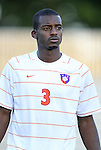 14 September 2012: Clemson's Francklin Blaise. The Duke University Blue Devils defeated the Clemson University Tigers 2-0 at Koskinen Stadium in Durham, North Carolina in a 2012 NCAA Division I Men's Soccer game.