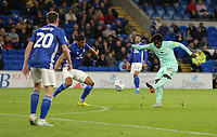 Queens Park Rangers' Eberechi Eze has a shot at goal<br /> <br /> Photographer Ian Cook/CameraSport<br /> <br /> The EFL Sky Bet Championship - Cardiff City v Queens Park Rangers - Wednesday 2nd October 2019  - Cardiff City Stadium - Cardiff<br /> <br /> World Copyright © 2019 CameraSport. All rights reserved. 43 Linden Ave. Countesthorpe. Leicester. England. LE8 5PG - Tel: +44 (0) 116 277 4147 - admin@camerasport.com - www.camerasport.com