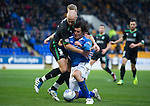 St Johnstone v Hibernian...26.11.11   SPL .Sean O'Hanlon wrestles with Francisco Sandaza.Picture by Graeme Hart..Copyright Perthshire Picture Agency.Tel: 01738 623350  Mobile: 07990 594431