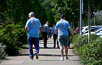 Manchester City fans make their way to the ground before the Barclays Premier League match between Swansea City and Manchester City played at The Liberty Stadium, Swansea on 15th May 2016