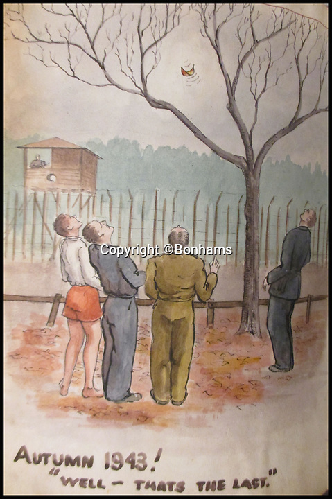 BNPS.co.uk (01202 558833)<br /> Pic: Bonhams/BNPS<br /> <br /> Bored PoWs at Stalag Luft III counting the leaves falling from trees in autumn 1943.<br /> <br /> Tell-tale illustrations of British airmen plotting the famous Great Escape drawn by a prisoner of war at huge risk have come to light.<br /> <br /> The watercolour paintings were kept in a wartime scrapbook by Flight Lieutenant Archibald Sulston, a keen artist who drew and painted life in the PoW - including obvious evidence of a tunnel being dug.<br /> <br /> The album is being sold at auction for &pound;20,000.