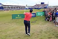 Jon Rahm (ESP) chips onto the 18th green during Sunday's Final Round of the Dubai Duty Free Irish Open 2019, held at Lahinch Golf Club, Lahinch, Ireland. 7th July 2019.<br /> Picture: Eoin Clarke | Golffile<br /> <br /> <br /> All photos usage must carry mandatory copyright credit (© Golffile | Eoin Clarke)