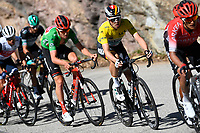 14th March 2020, Paris to Nice cycling tour, final day, stage 7;  green jersey BENOOT Tiesj (BEL) of TEAM SUNWEB and yellow jersey SCHACHMANN Maximilian (GER) of BORA - HANSGROHE in action during stage 7 of the 78th edition of the Paris - Nice cycling race, a stage of 166,5km with start in Nice and finish in Valdeblore La Colmiane on March 14, 2020 in Valdeblore La Colmiane, France