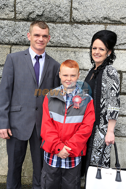 Calum Sullivan, Brian Dowd and Alison Sullivan  at St Josephs CBS confirmation in the Lourdes Church. Picture: www.newsfile.ie