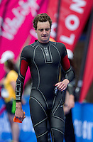 31 MAY 2014 - LONDON, GBR - Alistair Brownlee (GBR) (ENG) of Great Britain and England walks onto the pontoon for the start of the men's 2014 ITU World Triathlon Series round in Hyde Park, London, Great Britain (PHOTO COPYRIGHT © 2014 NIGEL FARROW, ALL RIGHTS RESERVED)
