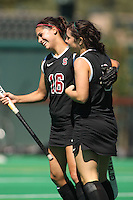 STANFORD, CA - SEPTEMBER 6:  Katherine Swank and Katie Mitchell of the Stanford Cardinal during Stanford's 7-1 win over Kent State at the Varsity Field Hockey Turf on September 6, 2009 in Stanford, California.