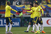 Integrantes de la Seleccion de Colombia se saludan al termino del partido 0-0 contra Peru en Temuco por la Copa America 2015 de Chile. <br /> <br /> Fotografias cortesia de Movistar Colombia, exclusivamente para uso editorial en medios de comunicacion durante el transcurso de la Copa America 2015