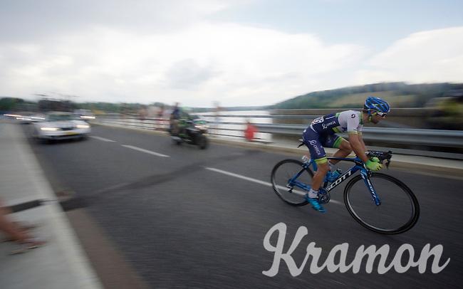 Michael Matthews (AUS/Orica-GreenEDGE) over the bridge of the Lac de Pareloup<br /> <br /> stage 14: Rodez - Mende (178km)<br /> 2015 Tour de France