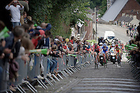 breakaway group on the Mur de Thuin (C1) cobbles<br /> <br /> Tour de Wallonie 2015<br /> stage 5: Chimay - Thuin (167km)