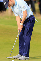 Russell Knox (SCO) putts on the 14th green during Thursday's Round 1 of the 145th Open Championship held at Royal Troon Golf Club, Troon, Ayreshire, Scotland. 14th July 2016.<br /> Picture: Eoin Clarke | Golffile<br /> <br /> <br /> All photos usage must carry mandatory copyright credit (&copy; Golffile | Eoin Clarke)