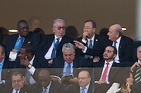 FIFA President Sepp Blatter (far right) sits next to Ban Ki-moon the current Secretary-General of the United Nations with Jose Eduardo dos Santos the President of of Angola on the far left