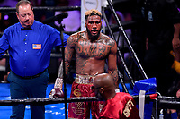 Fairfax, VA - May 11, 2019: A bloody Jarrett Hurd goes to his corner at the end of the round during Jr. Middleweight title fight at Eagle Bank Arena in Fairfax, VA. Julian Williams defeated Hurd to take home the IBF, WBA and IBO Championship belts by unanimous decision. (Photo by Phil Peters/Media Images International)