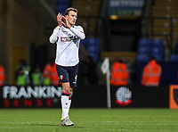 Bolton Wanderers' Christian Doidge applauds the home fans at the end of the match<br /> <br /> Photographer Andrew Kearns/CameraSport<br /> <br /> The EFL Sky Bet Championship - Bolton Wanderers v Blackburn Rovers - Saturday 6th October 2018 - University of Bolton Stadium - Bolton<br /> <br /> World Copyright &copy; 2018 CameraSport. All rights reserved. 43 Linden Ave. Countesthorpe. Leicester. England. LE8 5PG - Tel: +44 (0) 116 277 4147 - admin@camerasport.com - www.camerasport.com