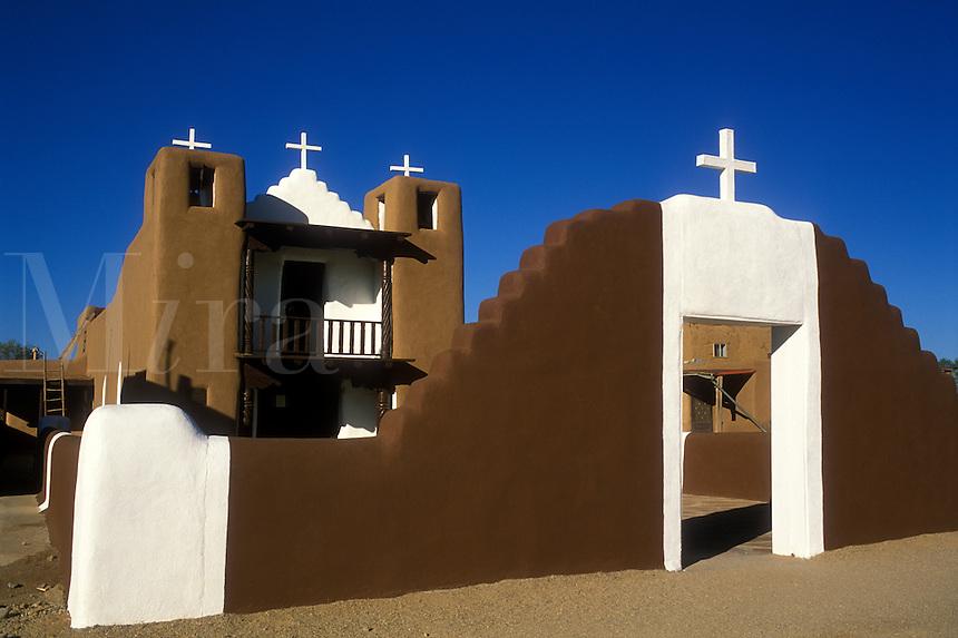 USA, New Mexico, Taos Pueblo, San Geronimo Chapel, adobe style church.