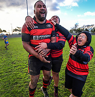 Waikanae's Gavin Levave and fans celebrate winning the Horowhenua-Kapiti premier club rugby final Ramsbottom Cup match between Paraparaumu and Waikanae at Levin Domain in Levin, New Zealand on Saturday, 22 July 2017. Photo: Dave Lintott / lintottphoto.co.nz