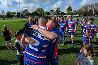 Horowhenua Kapiti coach Chris Wilton hugs Dean Ropata after winning the 2018 Heartland Championship Lochore Cup rugby final between Horowhenua Kapiti and Wairarapa Bush at Levin Domain in Levin, New Zealand on Sunday, 28 October 2018. Photo: Dave Lintott / lintottphoto.co.nz