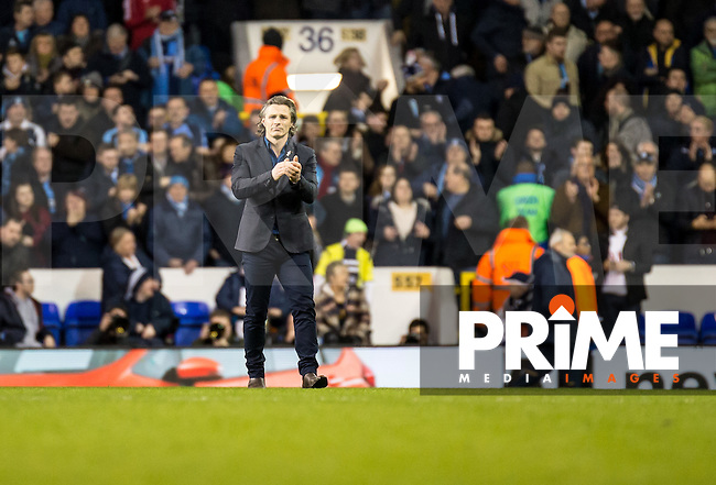 Wycombe Wanderers Manager Gareth Ainsworth applauds the fans after the FA Cup 4th round match between Tottenham Hotspur and Wycombe Wanderers at White Hart Lane, London, England on the 28th January 2017. Photo by Liam McAvoy.