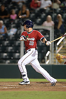 Fort Myers Miracle catcher Mitch Garver (25) at bat during a game against the Tampa Yankees on April 15, 2015 at Hammond Stadium in Fort Myers, Florida.  Tampa defeated Fort Myers 3-1 in eleven innings.  (Mike Janes/Four Seam Images)