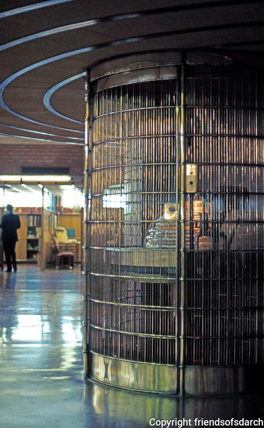 F.L. Wright: S.C. Johnson & Son, 1936-39. Elevator, Administration Building.  Photo '77.